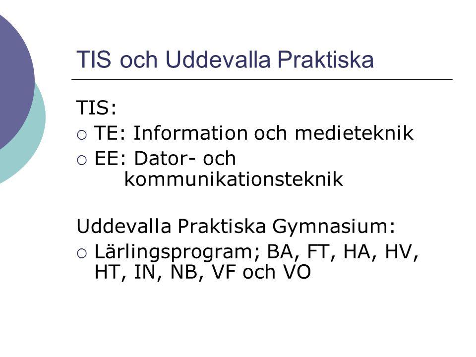 TIS och Uddevalla Praktiska TIS:  TE: Information och medieteknik  EE: Dator- och kommunikationsteknik Uddevalla Praktiska Gymnasium:  Lärlingsprog