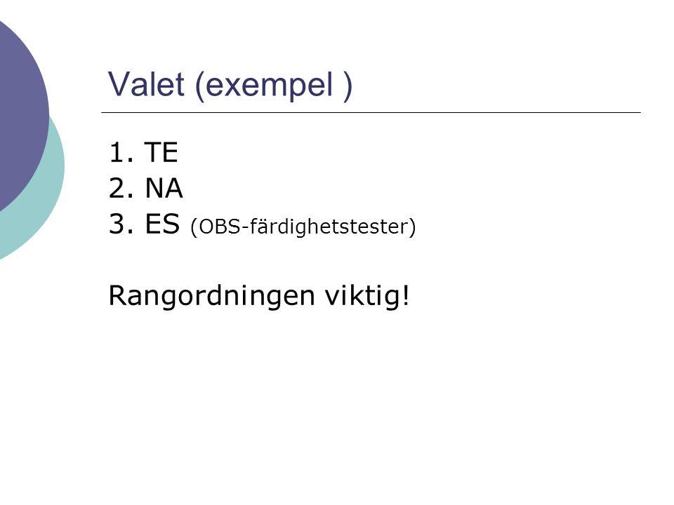 Valet (exempel ) 1. TE 2. NA 3. ES (OBS-färdighetstester) Rangordningen viktig!
