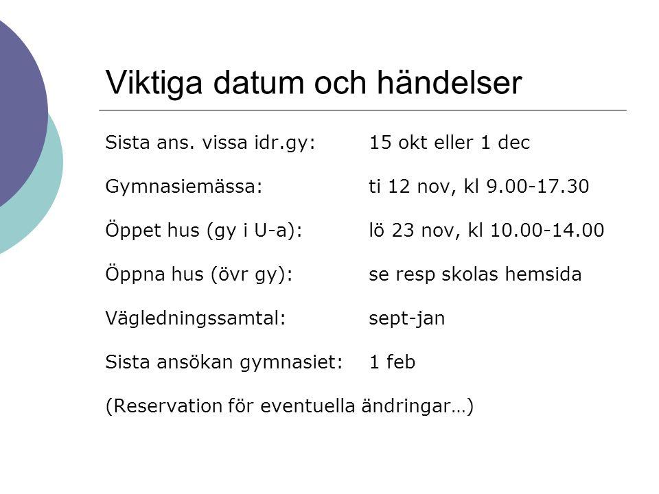 Viktiga datum och händelser Sista ans. vissa idr.gy:15 okt eller 1 dec Gymnasiemässa:ti 12 nov, kl 9.00-17.30 Öppet hus (gy i U-a):lö 23 nov, kl 10.00