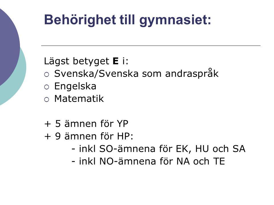 Behörighet till gymnasiet: Lägst betyget E i:  Svenska/Svenska som andraspråk  Engelska  Matematik + 5 ämnen för YP + 9 ämnen för HP: - inkl SO-ämn