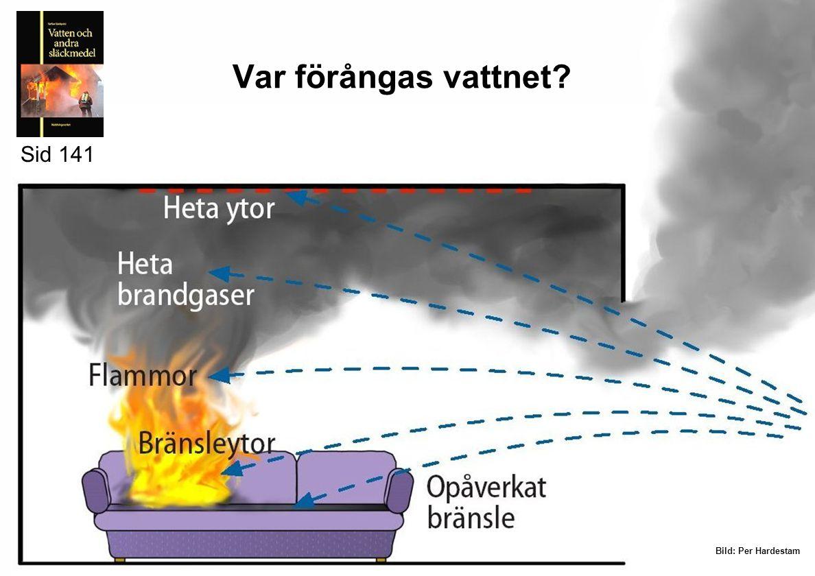 Vattnet kan användas för •Brandgaskylning •Ytkylning •Släckning med ånga Sid 141