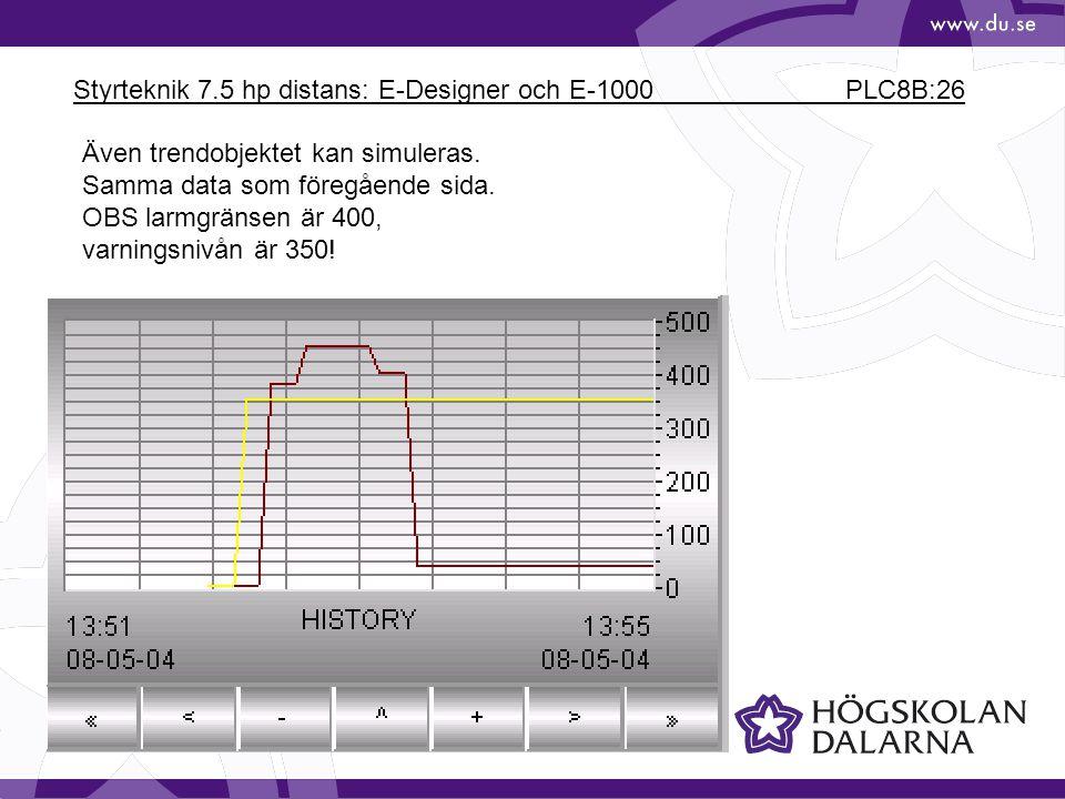 Styrteknik 7.5 hp distans: E-Designer och E-1000 PLC8B:26 Även trendobjektet kan simuleras. Samma data som föregående sida. OBS larmgränsen är 400, va