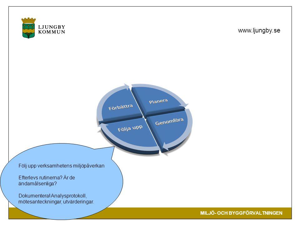 MILJÖ- OCH BYGGFÖRVALTNINGEN www.ljungby.se Följ upp verksamhetens miljöpåverkan Efterlevs rutinerna.