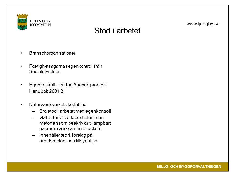 MILJÖ- OCH BYGGFÖRVALTNINGEN www.ljungby.se Stöd i arbetet •Branschorganisationer •Fastighetsägarnas egenkontroll från Socialstyrelsen •Egenkontroll – en fortlöpande process Handbok 2001:3 •Naturvårdsverkets faktablad –Bra stöd i arbetet med egenkontroll –Gäller för C-verksamheter, men metoden som beskriv är tillämpbart på andra verksamheter också.