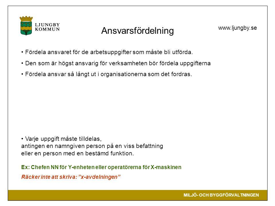 MILJÖ- OCH BYGGFÖRVALTNINGEN www.ljungby.se • Fördela ansvaret för de arbetsuppgifter som måste bli utförda.