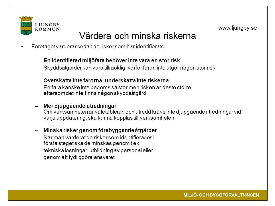 MILJÖ- OCH BYGGFÖRVALTNINGEN www.ljungby.se Värdera och minska riskerna •Företaget värderar sedan de risker som har identifierats –En identifierad miljöfara behöver inte vara en stor risk Skyddsåtgärder kan vara tillräcklig, varför faran inte utgör någon stor risk –Överskatta inte farorna, underskatta inte riskerna En fara kanske inte bedöms så stor men risken är desto större eftersom det inte finns någon skyddsåtgärd –Mer djupgående utredningar Om verksamheten är väletablerad och utredd krävs inte djupgående utredningar vid varje uppdatering, ska kunna kopplas till verksamheten –Minska risker genom förebyggande åtgärder När man värderat de risker som identifierades i första steget ska de minskas genom t ex tekniska lösningar, utbildning av personal eller genom att tydliggöra ansvaret
