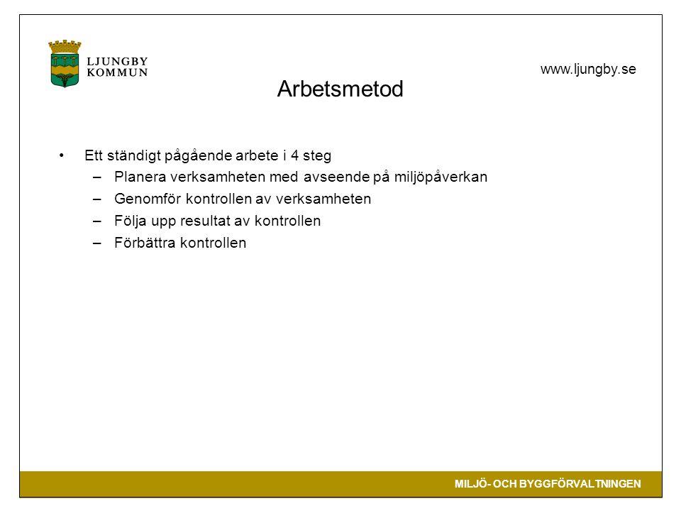 MILJÖ- OCH BYGGFÖRVALTNINGEN www.ljungby.se Arbetsmetod •Ett ständigt pågående arbete i 4 steg –Planera verksamheten med avseende på miljöpåverkan –Genomför kontrollen av verksamheten –Följa upp resultat av kontrollen –Förbättra kontrollen
