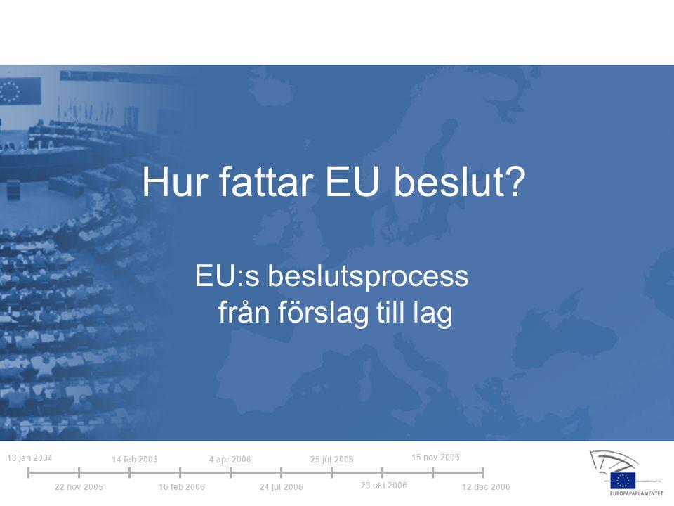 13 jan 2004 14 feb 20064 apr 2006 24 jul 2006 25 jul 2006 22 nov 200516 feb 2006 23 okt 2006 15 nov 2006 12 dec 2006 Det ordinarie lagstiftningsförfarandet för i stort sett all EU-lagstiftning (tidigare kallat medbeslutandeförfarandet)