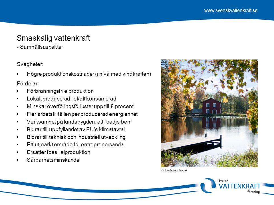 www.svenskvattenkraft.se Småskalig vattenkraft •Högre produktionskostnader (i nivå med vindkraften) •Förbränningsfri elproduktion •Lokalt producerad,