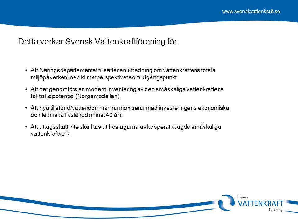 www.svenskvattenkraft.se Detta verkar Svensk Vattenkraftförening för: •Att Näringsdepartementet tillsätter en utredning om vattenkraftens totala miljö