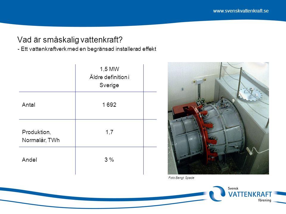 www.svenskvattenkraft.se Foto Bengt Spade 1,5 MW Äldre definition i Sverige Antal1 692 Produktion, Normalår, TWh 1,7 Andel3 % Vad är småskalig vattenk