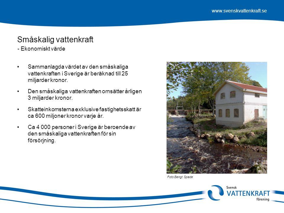 www.svenskvattenkraft.se Småskalig vattenkraft •Sammanlagda värdet av den småskaliga vattenkraften i Sverige är beräknad till 25 miljarder kronor. •De