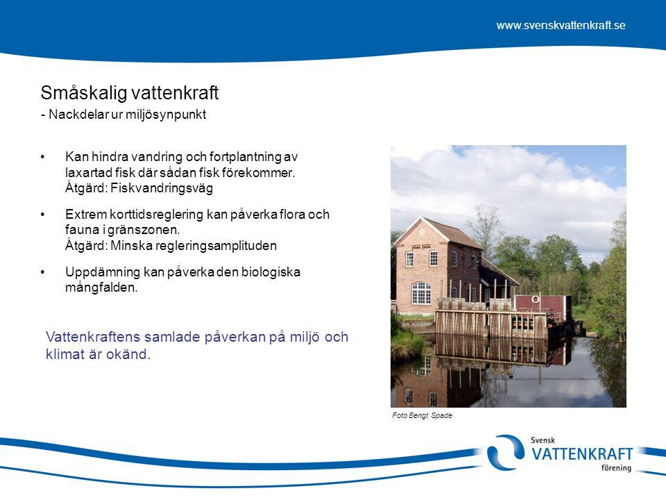 www.svenskvattenkraft.se Småskalig vattenkraft •Kan hindra vandring och fortplantning av laxartad fisk där sådan fisk förekommer. Åtgärd: Fiskvandring