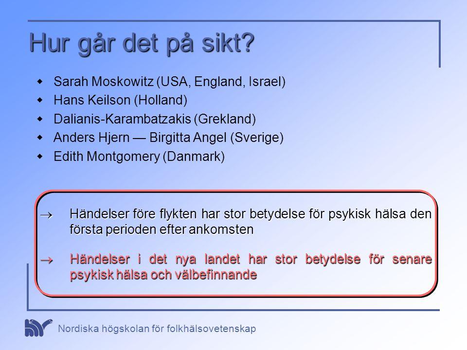 Nordiska högskolan för folkhälsovetenskap Hur går det på sikt?  Sarah Moskowitz (USA, England, Israel)  Hans Keilson (Holland)  Dalianis-Karambatza