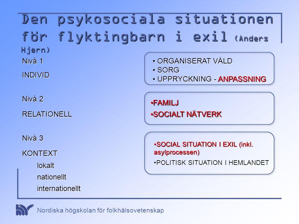Nordiska högskolan för folkhälsovetenskap Den psykosociala situationen för flyktingbarn i exil (Anders Hjern) Nivå 1 INDIVID • ORGANISERAT VÅLD • SORG