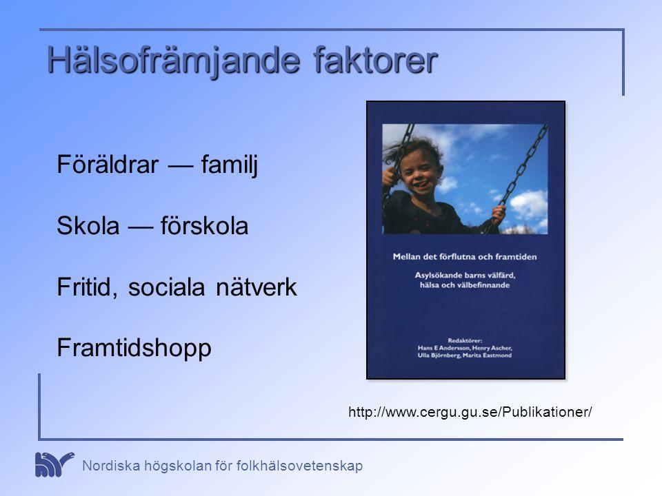 Nordiska högskolan för folkhälsovetenskap Hälsofrämjande faktorer Föräldrar — familj Skola — förskola Fritid, sociala nätverk Framtidshopp http://www.
