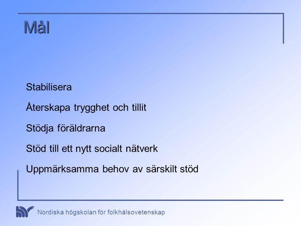 Nordiska högskolan för folkhälsovetenskap Mål Stabilisera Återskapa trygghet och tillit Stödja föräldrarna Stöd till ett nytt socialt nätverk Uppmärks