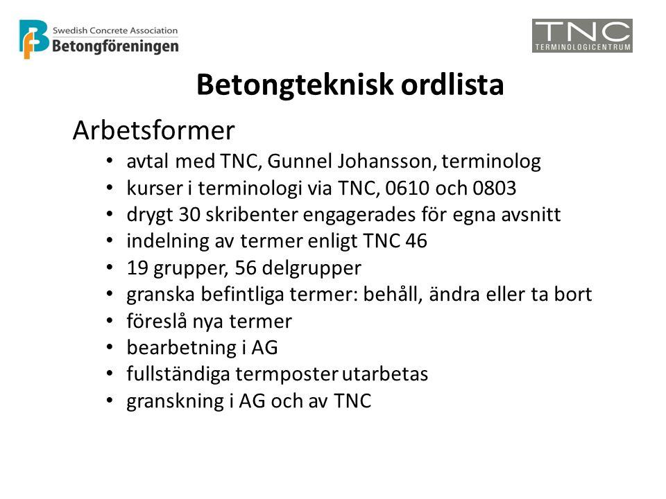 Betongteknisk ordlista Arbetsformer • avtal med TNC, Gunnel Johansson, terminolog • kurser i terminologi via TNC, 0610 och 0803 • drygt 30 skribenter engagerades för egna avsnitt • indelning av termer enligt TNC 46 • 19 grupper, 56 delgrupper • granska befintliga termer: behåll, ändra eller ta bort • föreslå nya termer • bearbetning i AG • fullständiga termposter utarbetas • granskning i AG och av TNC