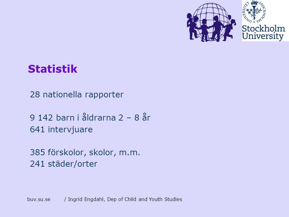 buv.su.se/ Ingrid Engdahl, Dep of Child and Youth Studies Statistik 28 nationella rapporter 9 142 barn i åldrarna 2 – 8 år 641 intervjuare 385 förskol