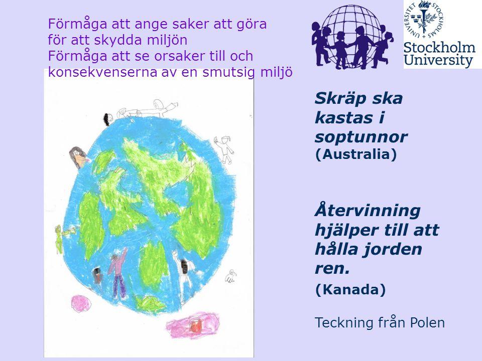 Skräp ska kastas i soptunnor (Australia) Återvinning hjälper till att hålla jorden ren. (Kanada) Teckning från Polen Förmåga att ange saker att göra f