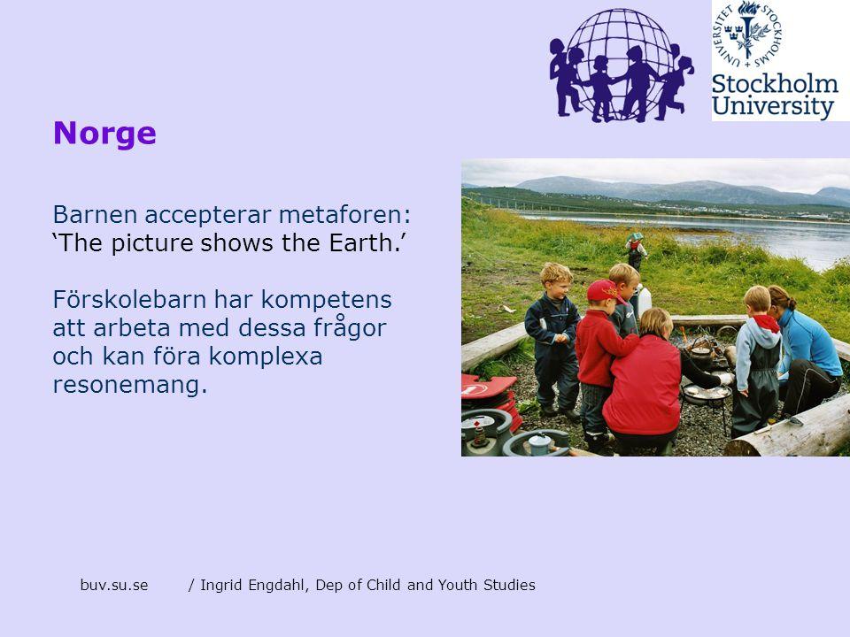 buv.su.se/ Ingrid Engdahl, Dep of Child and Youth Studies Norge Barnen accepterar metaforen: 'The picture shows the Earth.' Förskolebarn har kompetens