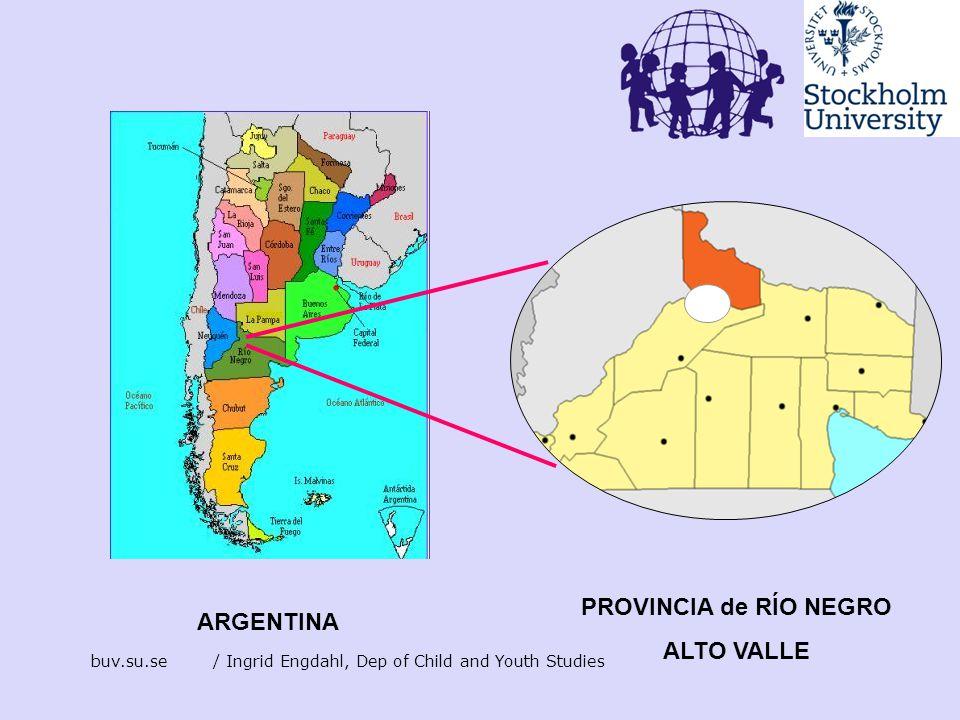 buv.su.se/ Ingrid Engdahl, Dep of Child and Youth Studies ARGENTINA PROVINCIA de RÍO NEGRO ALTO VALLE