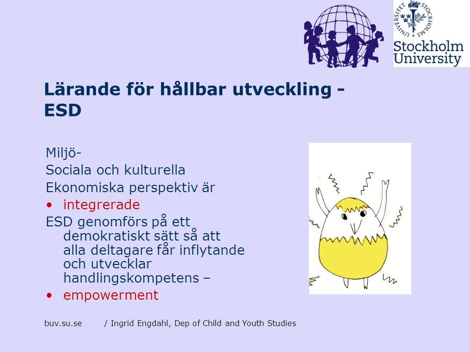 buv.su.se/ Ingrid Engdahl, Dep of Child and Youth Studies Lärande för hållbar utveckling - ESD Miljö- Sociala och kulturella Ekonomiska perspektiv är