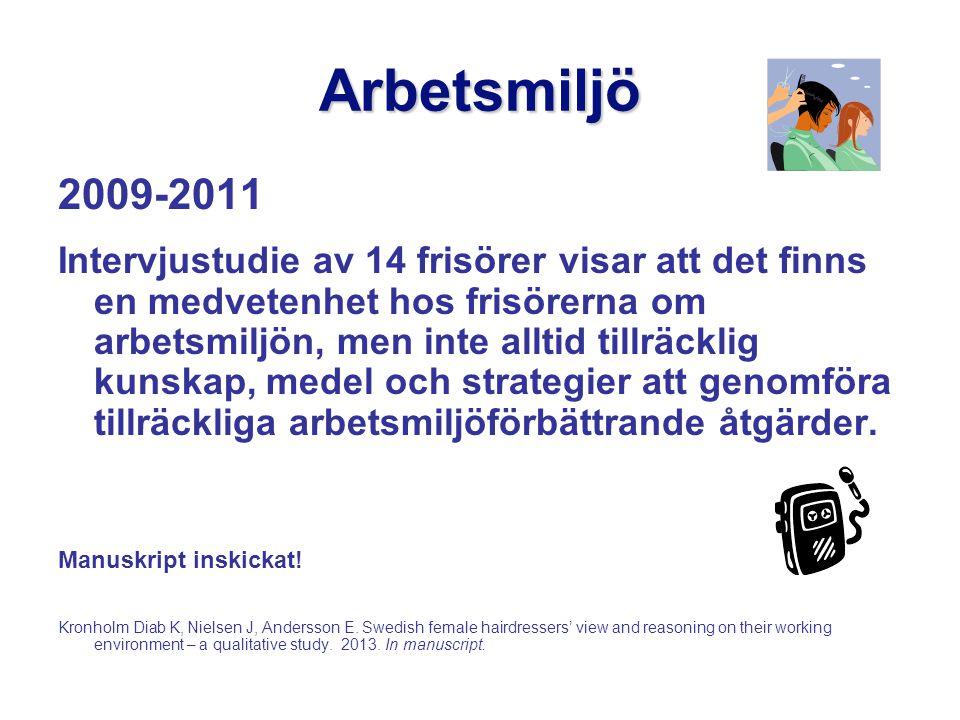 Arbetsmiljö 2009-2011 Intervjustudie av 14 frisörer visar att det finns en medvetenhet hos frisörerna om arbetsmiljön, men inte alltid tillräcklig kunskap, medel och strategier att genomföra tillräckliga arbetsmiljöförbättrande åtgärder.
