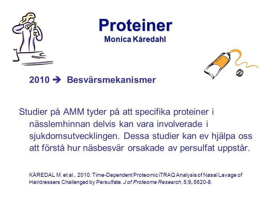 Proteiner Monica Kåredahl 2010  Besvärsmekanismer Studier på AMM tyder på att specifika proteiner i nässlemhinnan delvis kan vara involverade i sjukdomsutvecklingen.