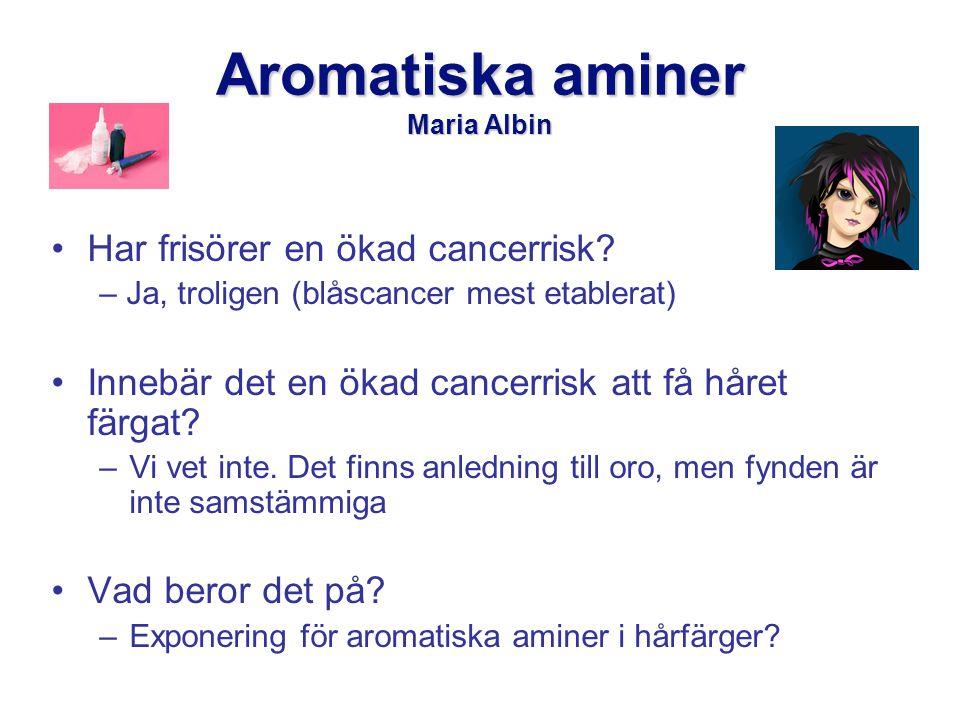 Aromatiska aminer Maria Albin •Har frisörer en ökad cancerrisk.