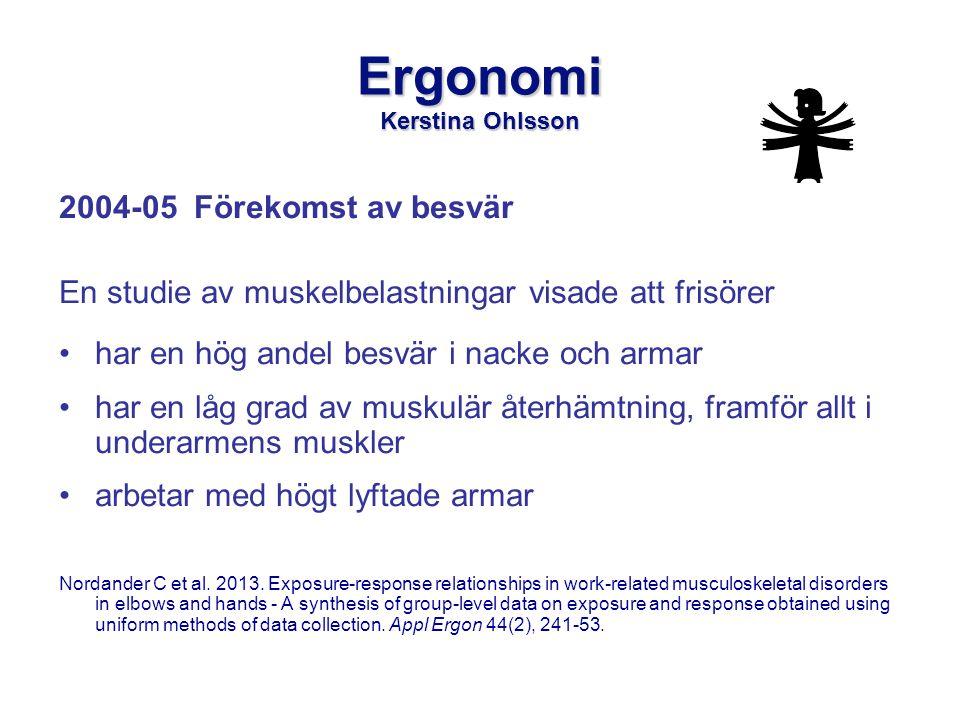 Ergonomi Kerstina Ohlsson 2004-05 Förekomst av besvär En studie av muskelbelastningar visade att frisörer •har en hög andel besvär i nacke och armar •har en låg grad av muskulär återhämtning, framför allt i underarmens muskler •arbetar med högt lyftade armar Nordander C et al.