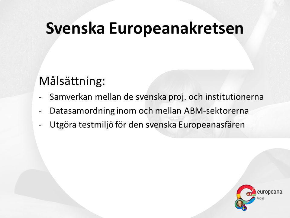 Svenska Europeanakretsen Målsättning: -Samverkan mellan de svenska proj. och institutionerna -Datasamordning inom och mellan ABM-sektorerna -Utgöra te
