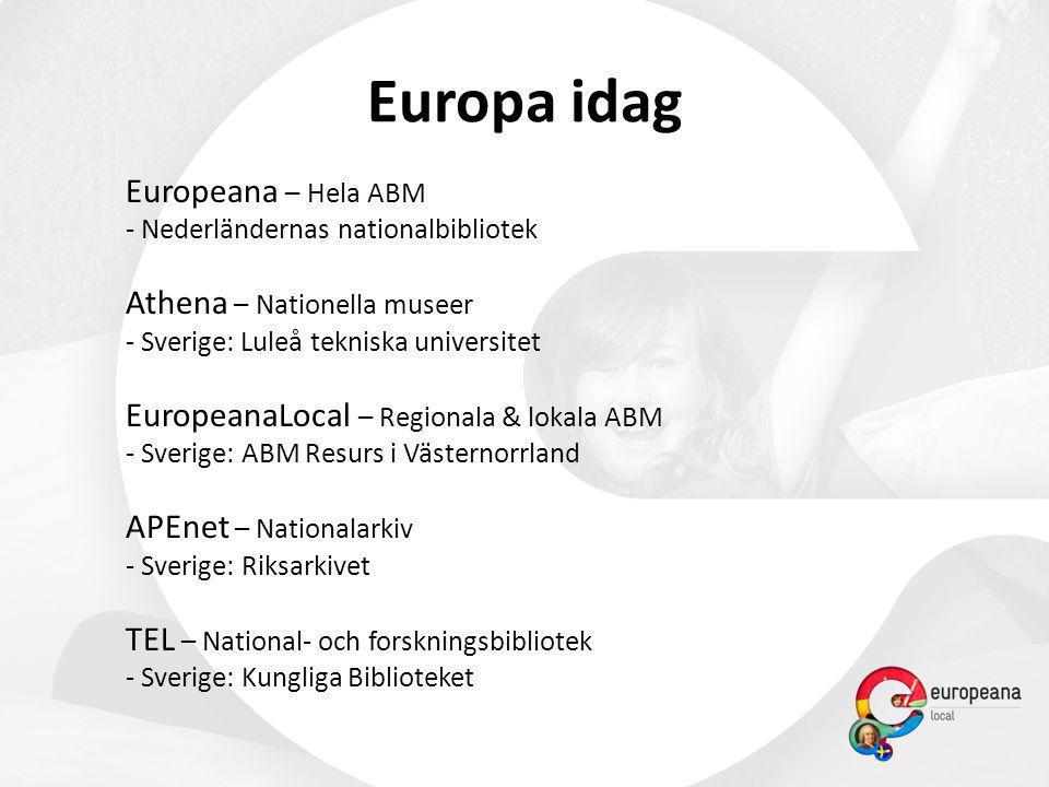 Europa idag Europeana – Hela ABM - Nederländernas nationalbibliotek Athena – Nationella museer - Sverige: Luleå tekniska universitet EuropeanaLocal –