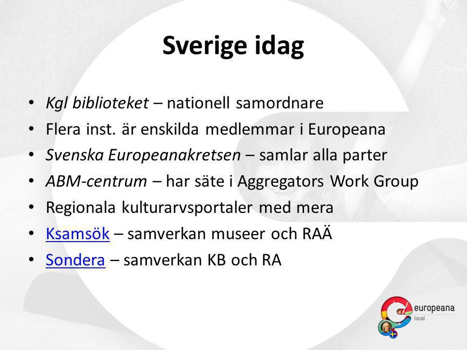 • Kgl biblioteket – nationell samordnare • Flera inst. är enskilda medlemmar i Europeana • Svenska Europeanakretsen – samlar alla parter • ABM-centrum