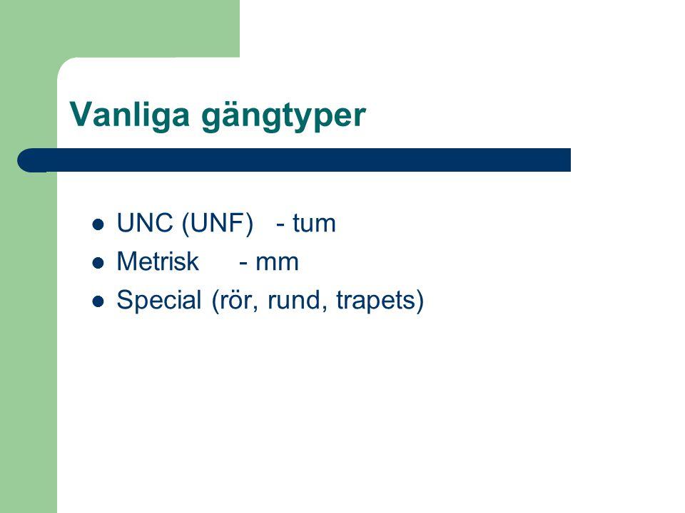 Vanliga gängtyper  UNC (UNF) - tum  Metrisk - mm  Special (rör, rund, trapets)