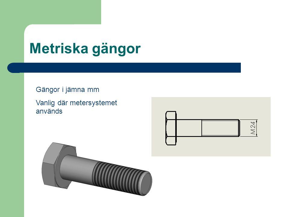 Metriska gängor Gängor i jämna mm Vanlig där metersystemet används