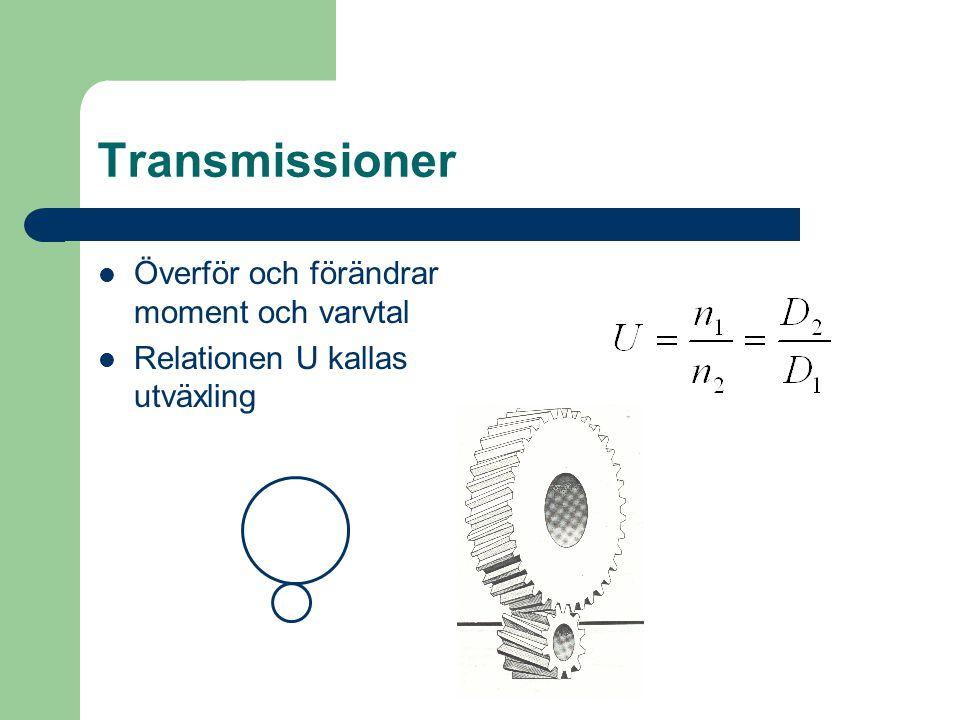 Transmissioner  Överför och förändrar moment och varvtal  Relationen U kallas utväxling