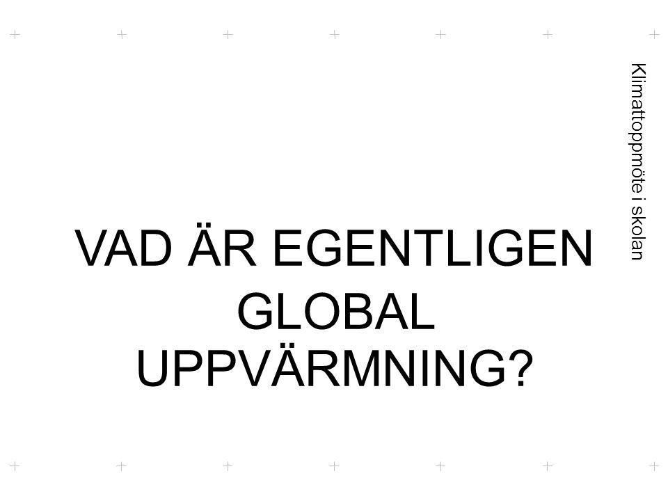 Klimattoppmöte i skolan VAD ÄR EGENTLIGEN GLOBAL UPPVÄRMNING