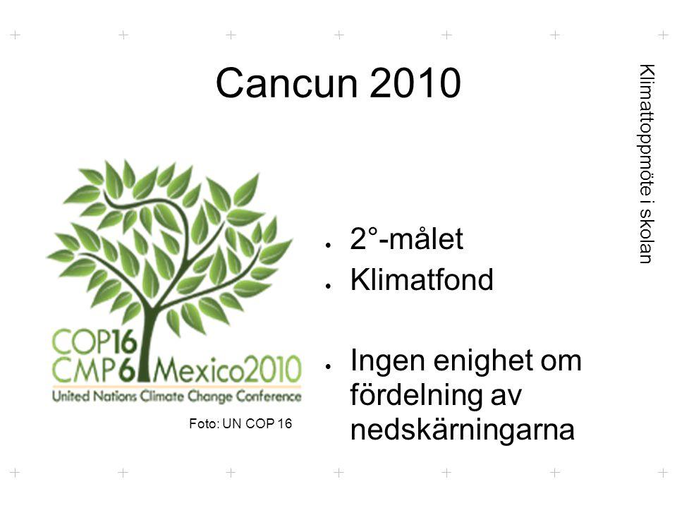 Klimattoppmöte i skolan Cancun 2010  2°-målet  Klimatfond  Ingen enighet om fördelning av nedskärningarna Foto: UN COP 16