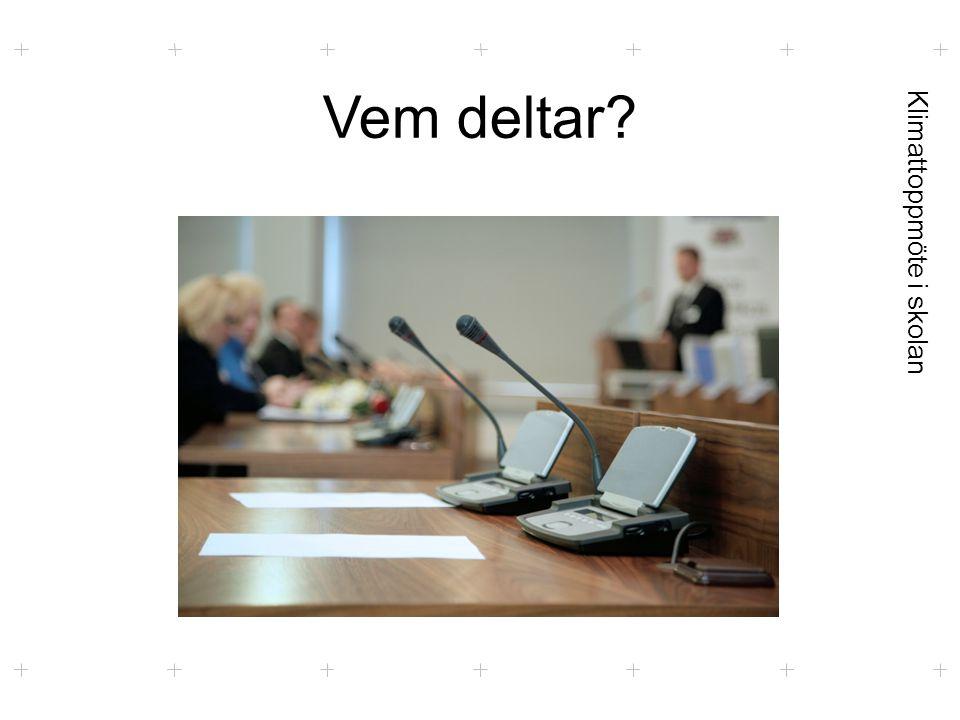 Klimattoppmöte i skolan Förhandlingar  4 frågor