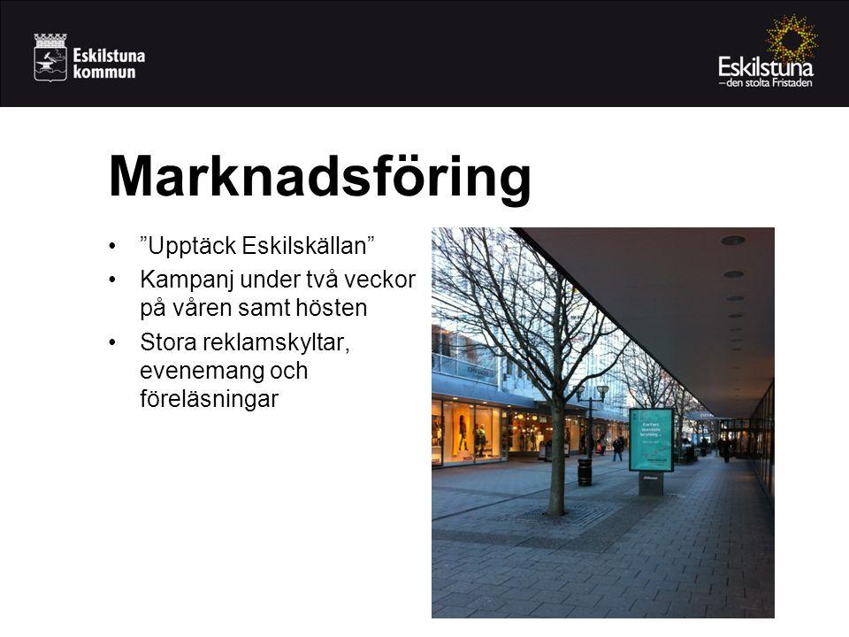 • Upptäck Eskilskällan •Kampanj under två veckor på våren samt hösten •Stora reklamskyltar, evenemang och föreläsningar Marknadsföring