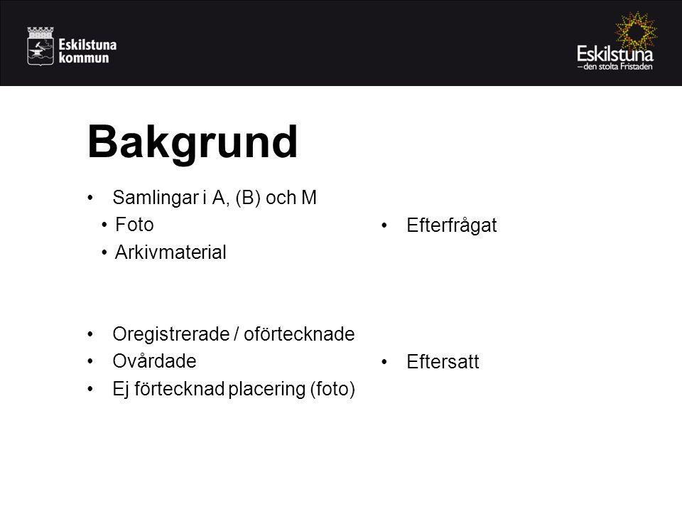•Samlingar i A, (B) och M •Foto •Arkivmaterial •Oregistrerade / oförtecknade •Ovårdade •Ej förtecknad placering (foto) Bakgrund •Efterfrågat •Eftersatt