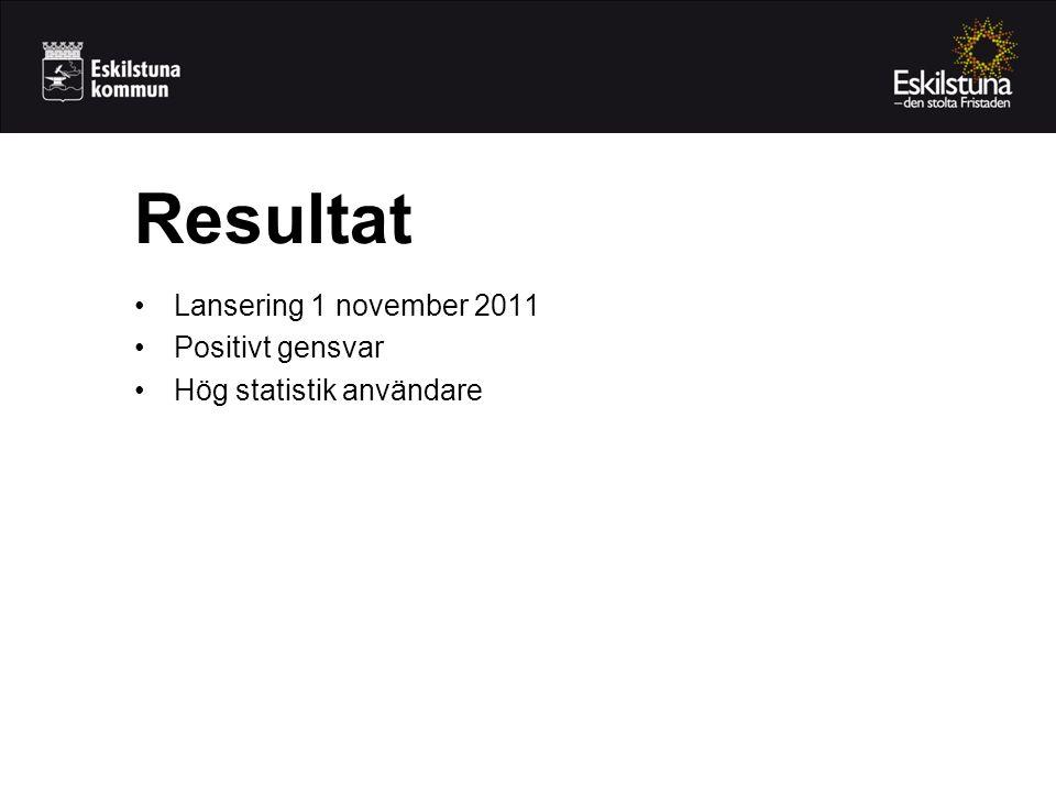 •Lansering 1 november 2011 •Positivt gensvar •Hög statistik användare Resultat