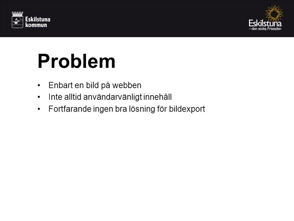 •Enbart en bild på webben •Inte alltid användarvänligt innehåll •Fortfarande ingen bra lösning för bildexport Problem