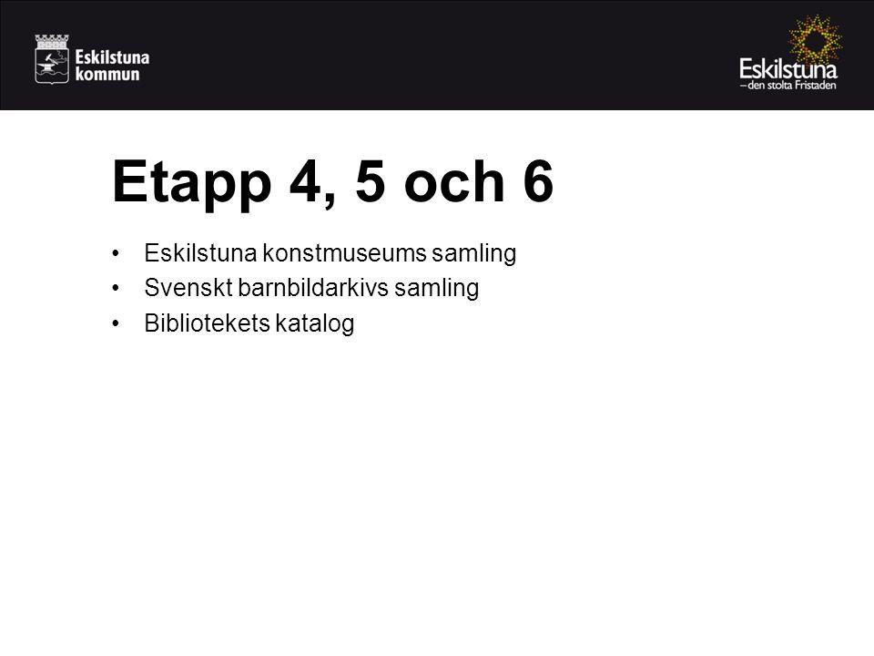 •Eskilstuna konstmuseums samling •Svenskt barnbildarkivs samling •Bibliotekets katalog Etapp 4, 5 och 6