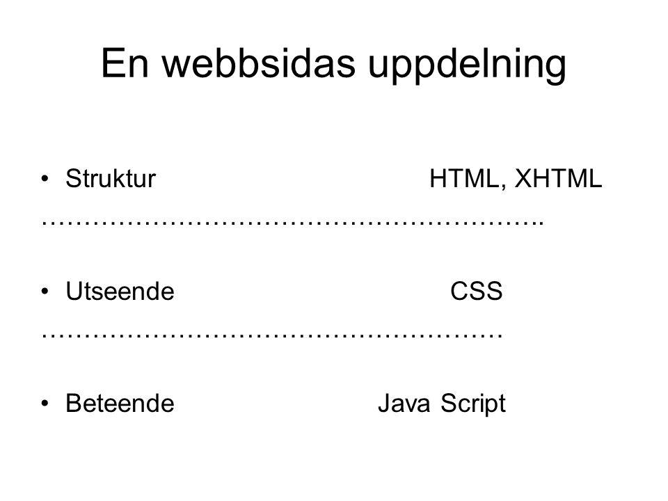En webbsidas uppdelning •Struktur HTML, XHTML ………………………………………………….. •Utseende CSS ……………………………………………… •Beteende Java Script