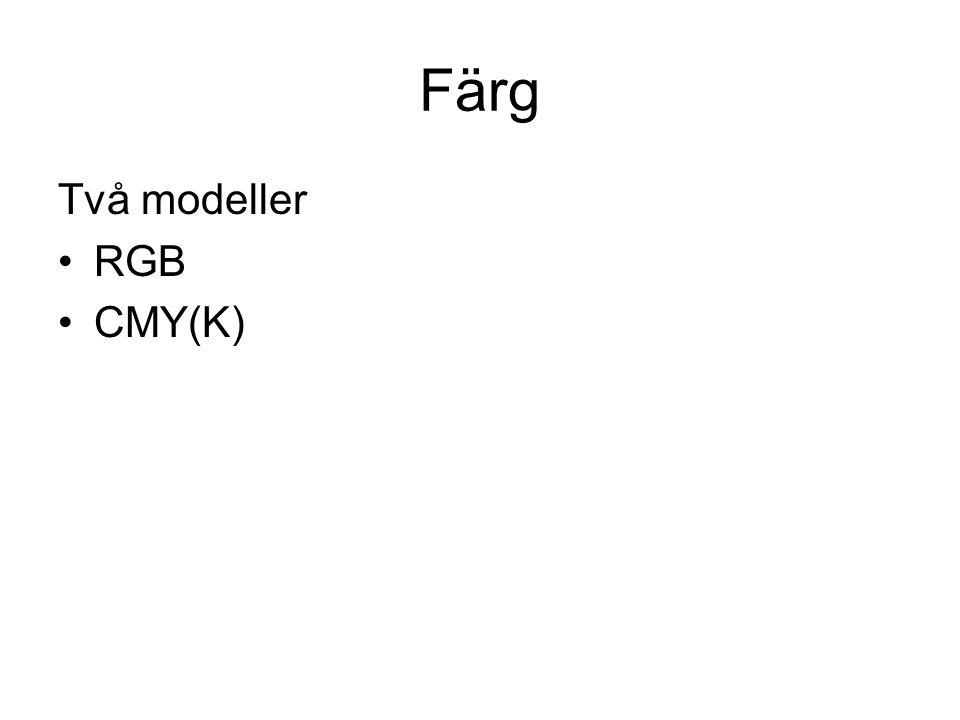 Färg Två modeller •RGB •CMY(K)