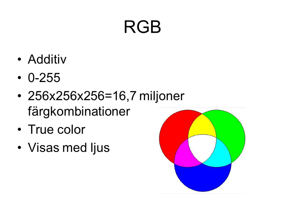 RGB •Additiv •0-255 •256x256x256=16,7 miljoner färgkombinationer •True color •Visas med ljus