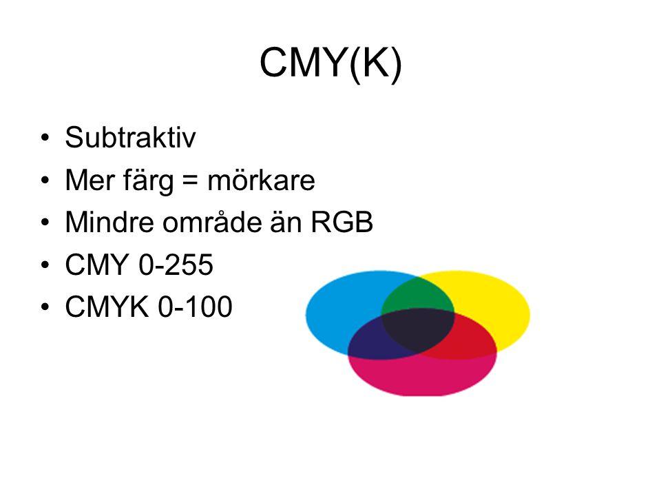 CMY(K) •Subtraktiv •Mer färg = mörkare •Mindre område än RGB •CMY 0-255 •CMYK 0-100