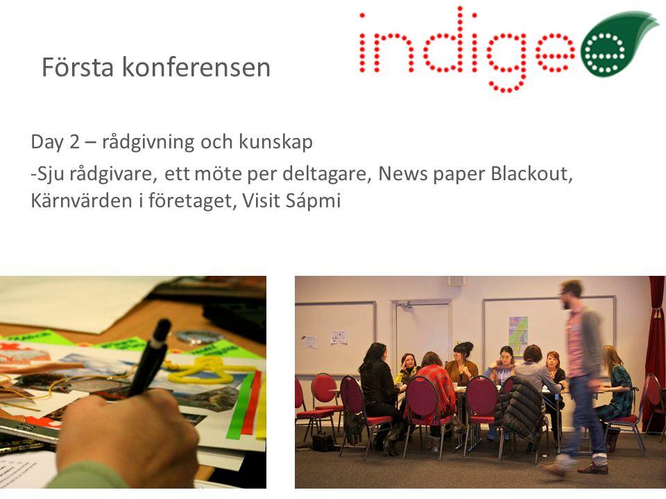 Day 2 – rådgivning och kunskap -Sju rådgivare, ett möte per deltagare, News paper Blackout, Kärnvärden i företaget, Visit Sápmi Första konferensen